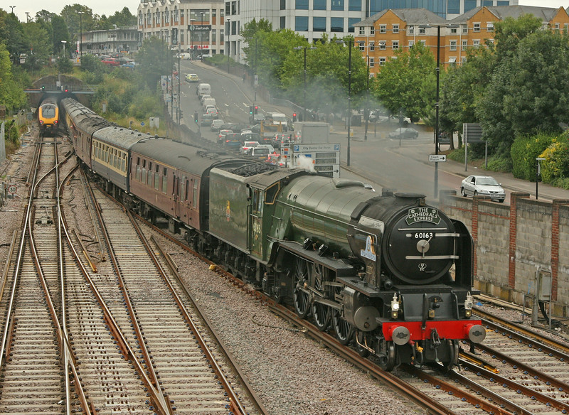 60163 Tornado, resplendant in BR Brunswick green, enters Southampton Central Station whilst working the 'Cath Ex' from London - Weymouth on 17th August 2011.  This livery suits the A1 very well and prompts happy memories I have of seeing them at work in Newcastle,York and Doncaster between 1964 and 1966.