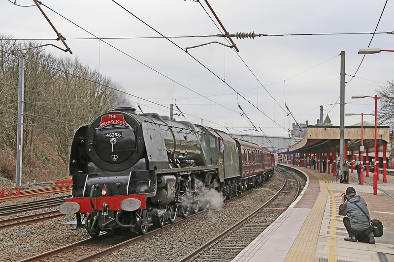 A 'Duchess' on the 'down fast'  at Lancaster.  46233 heads the outward 'Mid-Day Scot from Manchester - Edinburgh over Shap and Beattock on 19th March 2016.
