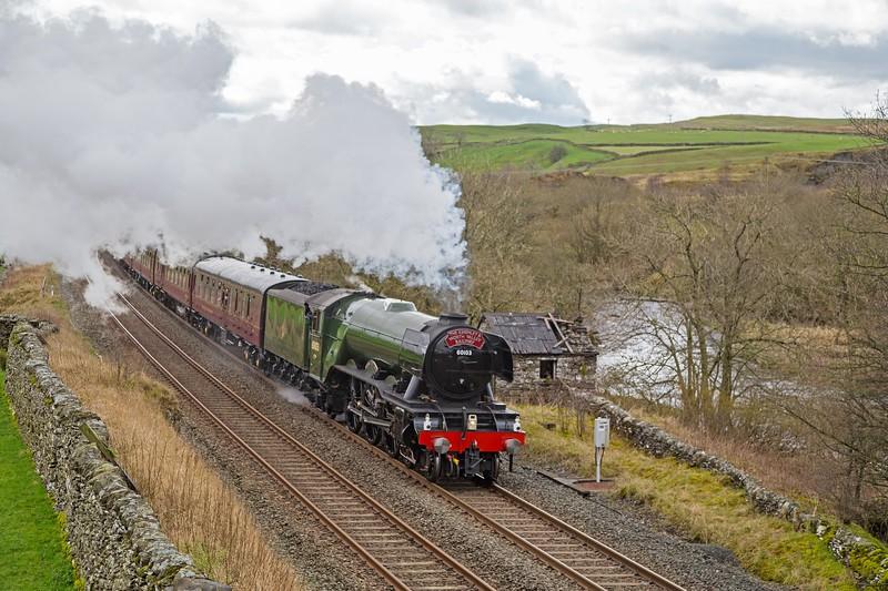 LNER A3 60103 'Flying Scotsman' storms through Helwith Bridge on the 'Settle and Carlisle Re-opening special' of 31st March 2017.