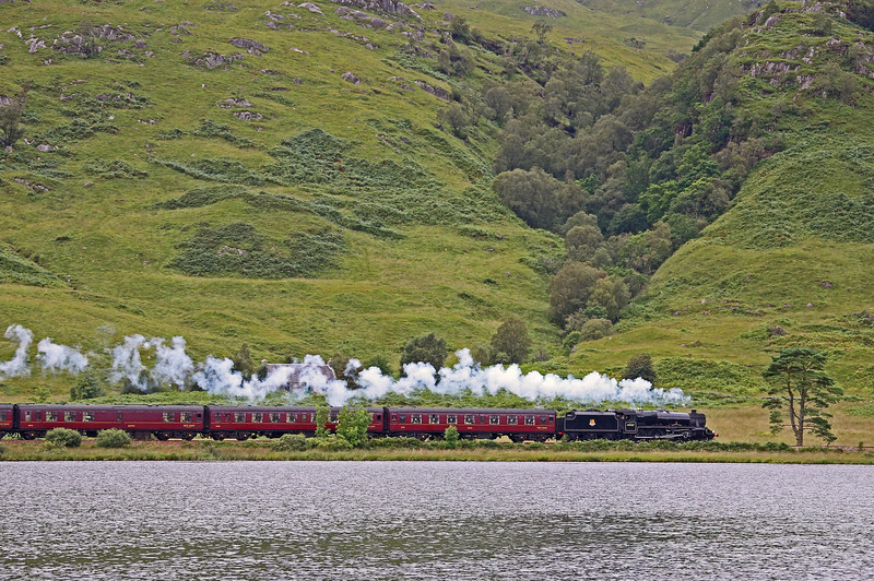 45407 skirts the shore of Loch Eilt on another gloomy day....28th August 2013.