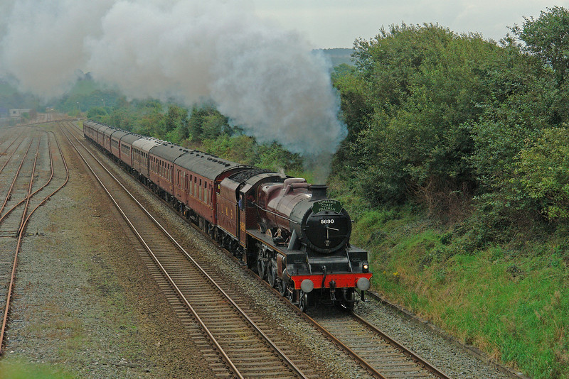 5690 'Leander' accelerates away from Carnforth with the 'Cumbrian Coast Fellsman' of 30th August 2008.  This was a 'big red engine' that Peter Beet always wanted and I was lucky enough (for a few short weeks)to help him and his son Chris with stripping her down for overhaul at Bury in the late 1990's.