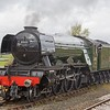 Looking very smart in her later British Railways livery, Flying Scotsman runs round her private owners brake (POB) at Hellifield on 11th April 2017.