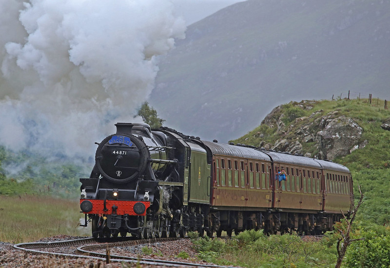 44871 heads the afternoon 'Jacobite' to Fort William on 27th August 2013.