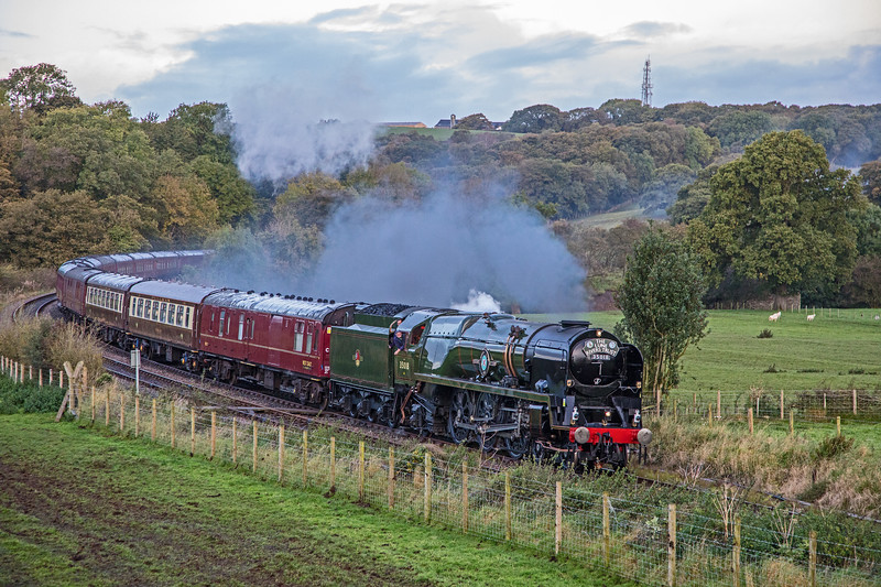 Re-built Merchant Navy Class 35018 'British India Line' makes a return to main line running  for the first time since 1964.  Seen approaching Wennington on her way from Carnforth - York.  Superb restoration from scrapyard condition by West Coast Railways.  30/09/17