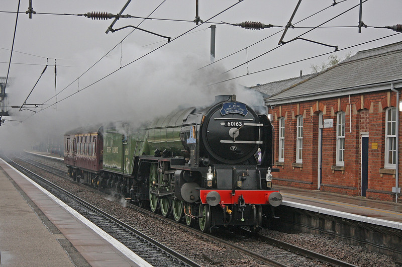 New build A1 'Tornado' roars through Grantham on a positioning move from Barrow Hill to Stewarts Lane.