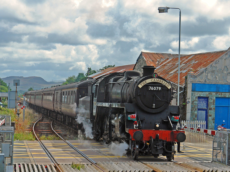 Standard 4 76079 arrives at Porthmadog from Machynlleth on 'The Cambrian' of 14th August 2008.  The locomotive had been left uncleaned for several days in order to reproduce the 'dirty look' so common in British Railways steam days!