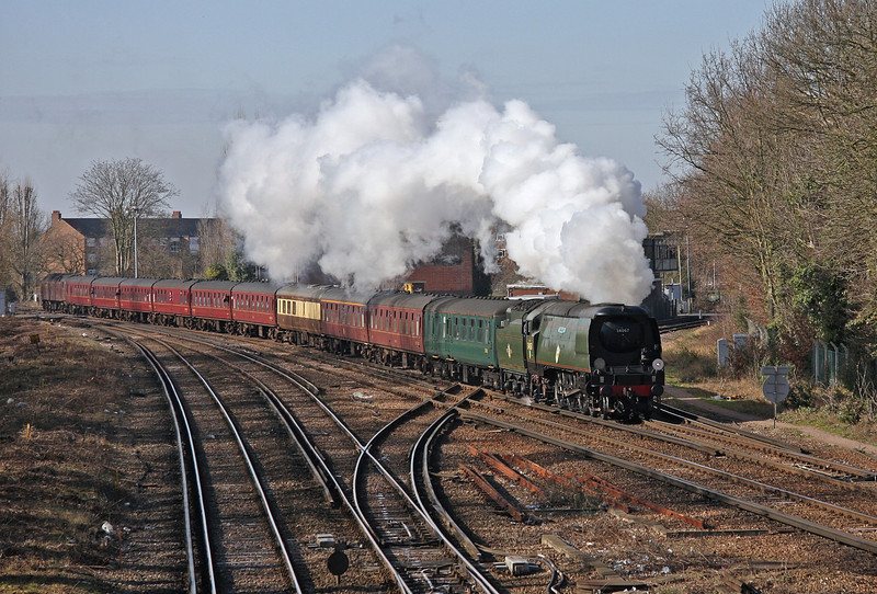 'Tangmere' approaches Barnes with the 'South Western Express' which she worked from  Portsmouth - London Waterloo on 21st February 2009.  According to the data on the image, this shot was taken less than four minutes after the next one of 'Clan Line!'
