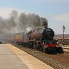 Stanier Pacific 6201 'Princess Elizabeth' charges through Garsdale at the head of the 'Hadrian' on 17th April 2010. The train originated from Stevenage and was steam hauled from Hellifield - York via Carlisle, Hexham and Darlington.