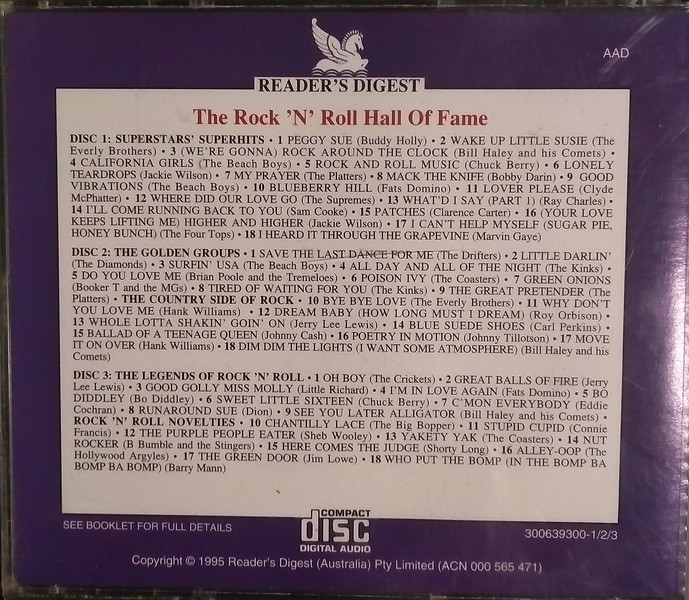 $20 (Sold as set of 5 Discs Only) Rock 'n' Roll Hall of Fame Discs 1, 2 & 3 Back Cover