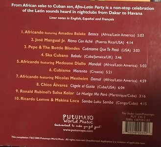 Putumayo Presents Afro-Latin Party Back Cover