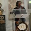 CDU Head Librarian Darlene Parker-Kelly ibtriduces Dr. Louis Sullivan