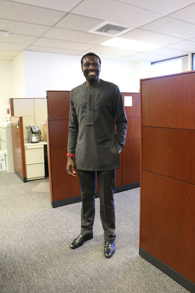 Recent alumnus, Clement Aroh, exhibits one of his many custom suits made in Nigeria. It's a professional look with flair!