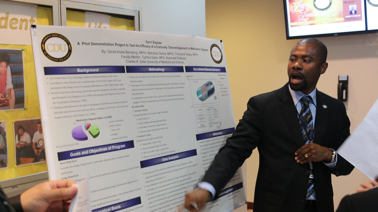 MPHSA President Gerald Bempong at the  Urban Public Health    Program Class of 2015 Culminating Experience