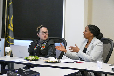 CDU Professor Cynthia Gonzalez, PhD, listens to Office of Sponsored Programs Director Perilla Johnson-Woodard as she explain procedures in grants management.