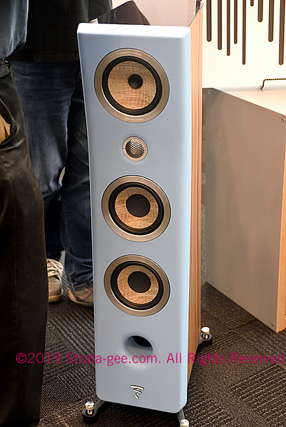 "A tower speaker from Focal with their ""F"" or Flax sandwich technology at CE Week"