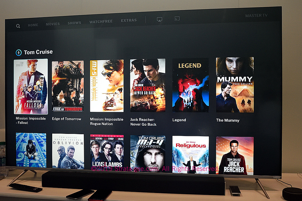 A search results page of Tom Cruise movies from Vizio's new user interface shown to me at CE Week
