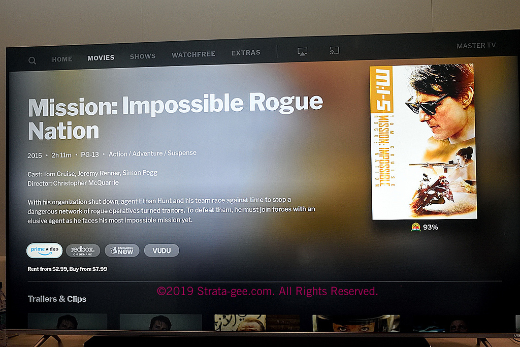 Drilling down to a Tom Cruise movie detail page on Vizio's new user interface shown at CE Week