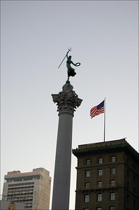 Union Square Statue (1)  The statue in Union Square.  Quite a cool shot with the Stars and Stripes in the background.