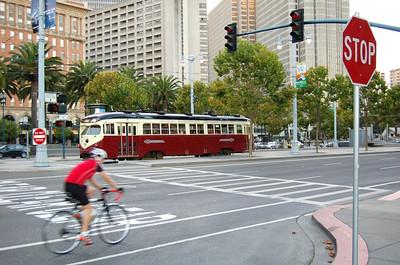 A Tram (2)  A more modern looking tram, but it's still an old tram.