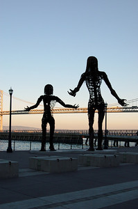 Bay Bridge Statues (2)  A closer view of the two statues near the Bay Bridge.