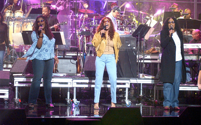 "The Pointer Sisters rehearsing for the TV show ""The Disco Ball"""