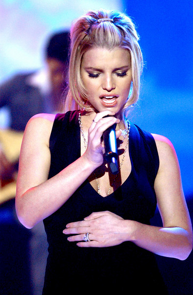 Jessica Simpson performing on 2004 Dick Clark's New Year's Rockin' Eve entertainment pre-taping