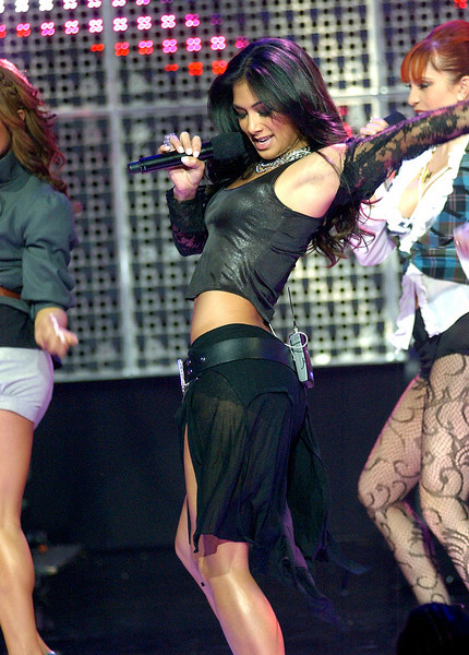 Nicole Scherzinger of the Pussycat Dolls performing on Dick Clark's New Year's Rockin' Eve