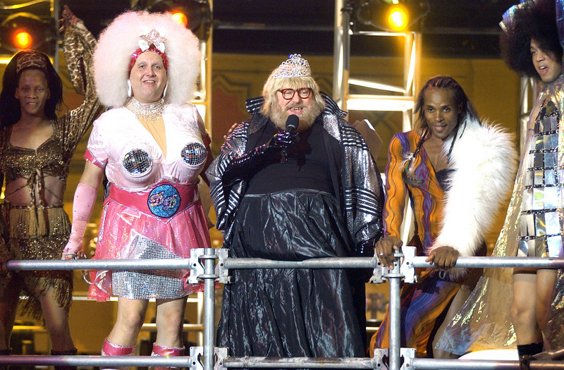 """Bruce Vilanch performing as the """"Dancing Queen"""" on  the TV Show """"The Disco Ball"""""""
