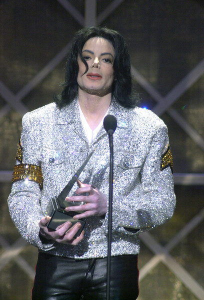 Michael Jackson accepting the Awards of Merit award at the 2002 American Music Awards