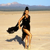 "Catherine Zeta Jones performing the song ""For All Time"" during the taping of her video in a dry bed lake at China Lake, California"