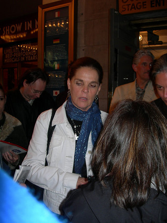 Ali McGraw signing autographs for a fan outside of the Broadway Play Festen, where she made her Broadway debut.
