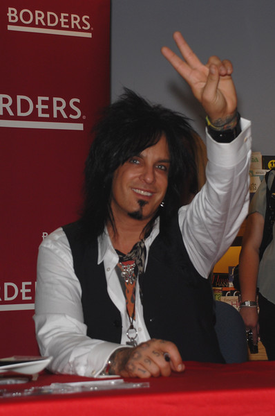 """Nikki Sixx bassist and songwriter for rock band Motley Crue, signs copies of his new book """"The Herion Diaries: A year in the Life of A Shattered Rock Star"""" at Borders Book store in Philadelphia, Pa"""