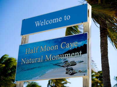 Close-up of welcome sign, Half Moon Caye Natural Monument, Half Moon Caye, Lighthouse Reef Atoll, Belize