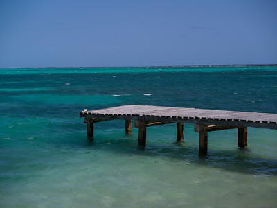 Pier on the beach, Half Moon Caye, Lighthouse Reef Atoll, Belize