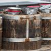 Close-up of pots in barrels, Centro, Dolores Hidalgo, Guanajuato, Mexico