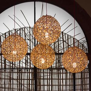 Illuminated pendant lights, Zona Centro, San Miguel de Allende, Guanajuato, Mexico
