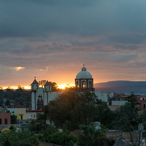 High angle view of cityscape with church, Zona Centro, San Miguel de Allende, Guanajuato, Mexico