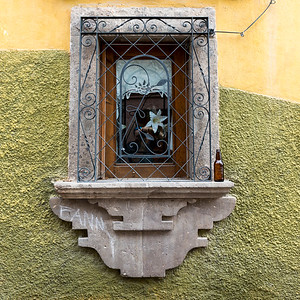Close-up of window frame, Zona Centro, San Miguel de Allende, Guanajuato, Mexico