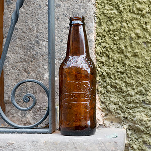Close-up of empty beer bottle on window sill, Zona Centro, San Miguel de Allende, Guanajuato, Mexico