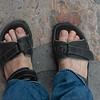 Top view of sandals on a man's feet, San Miguel de Allende, Guanajuato, Mexico