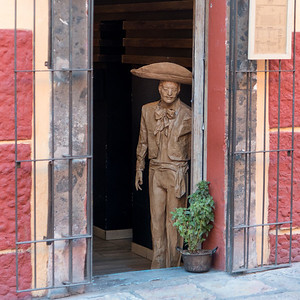 Statue at entrance of building, Zona Centro, San Miguel de Allende, Guanajuato, Mexico