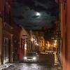 View of a street at night, San Miguel de Allende, Guanajuato, Mexico