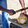Person cutting coconut with machete, West End, Roatan, Honduras