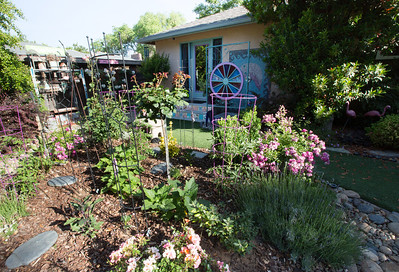 Barbara Harmony has an outdoor shower in her Fresno backyard. Harmony is a master gardener and loves to work in her yard.