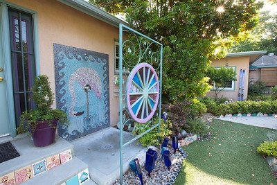 Barbara Harmony has an outdoor shower in her Fresno backyard.