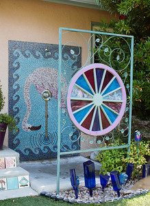 Barbara Harmony has an outdoor shower in her Fresno backyard. Harmony is a master gardener and loves to work in her yard. It took her three years to make the tile mosaic.