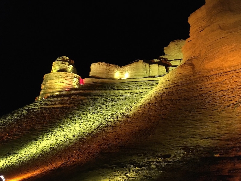 Walls of Masada lit up for party