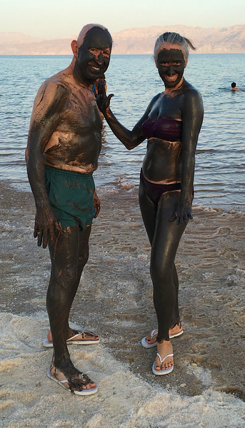 Jennifer and Jerry with mud