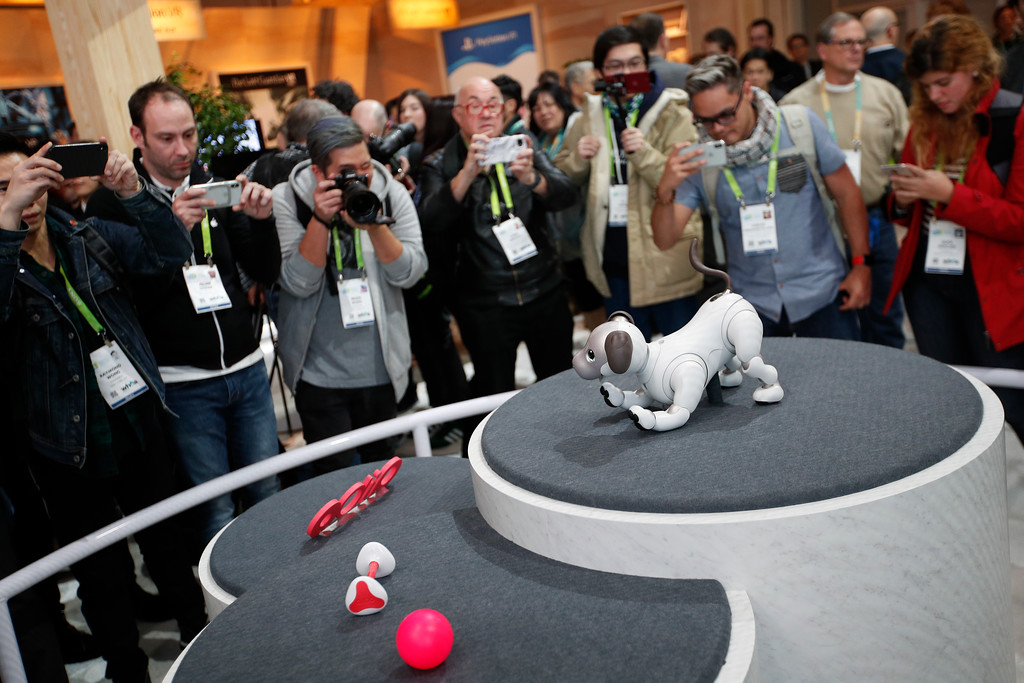 . The Aibo robot dog is on display at the Sony booth after a news conference at CES International, Monday, Jan. 8, 2018, in Las Vegas. (AP Photo/John Locher)
