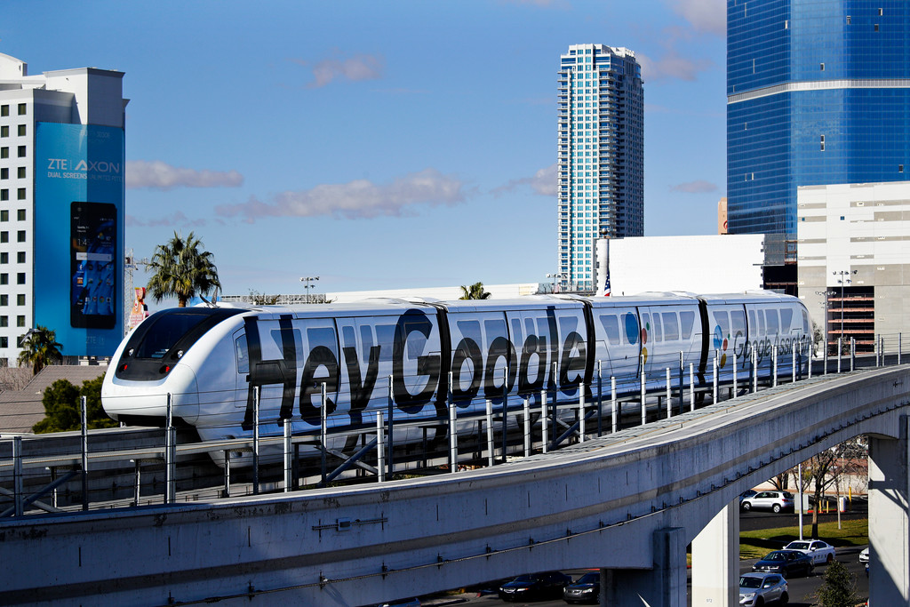 . A monorail with a Google advertisement passes the Las Vegas Convention Center during CES International, Wednesday, Jan. 10, 2018, in Las Vegas. (AP Photo/Jae C. Hong)